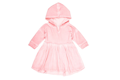 Hand Dyed Hoodie Dress- Pink
