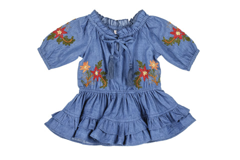 Little Peasant Denim Dress