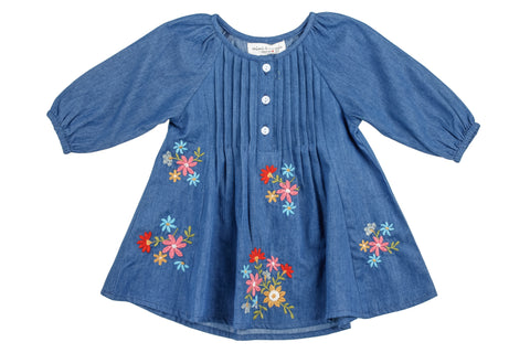 Denim Embroidered Craft Dress