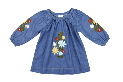 Wool Flowers Embroidered Dress