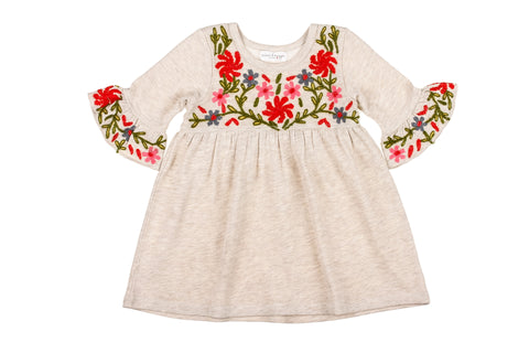 Oatmeal Flowers Knit Dress