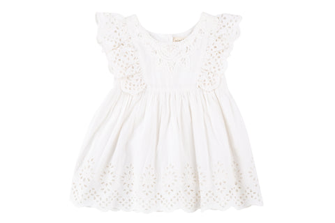 Sela Ruffle Sleeve Eyelet Dress