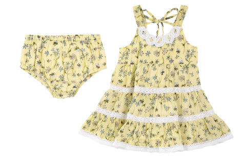 Lace & Blossoms Dress- Yellow