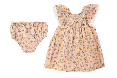 Delicate Vines Smocked Dress & Cover- Blush