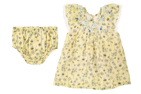 Delicate Vines Smocked Dress & Cover- Yellow