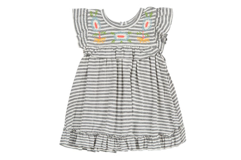 Brook Knit Stripe Dress- Gray