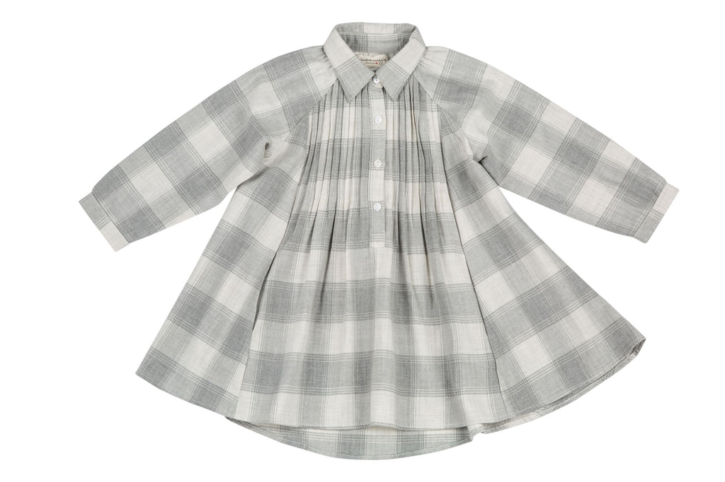 cozy plaid swing dress grey