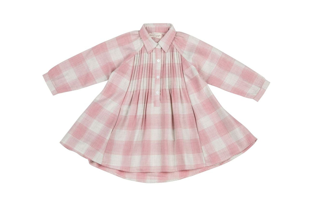 cozy plaid swing dress pink
