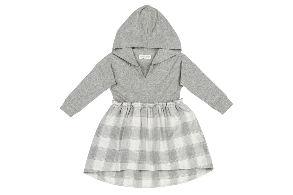 snow cap hoodie dress grey