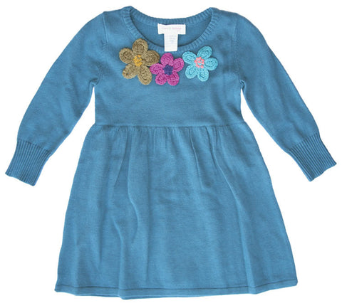 3 Flowers Sweater Dress- Turquoise