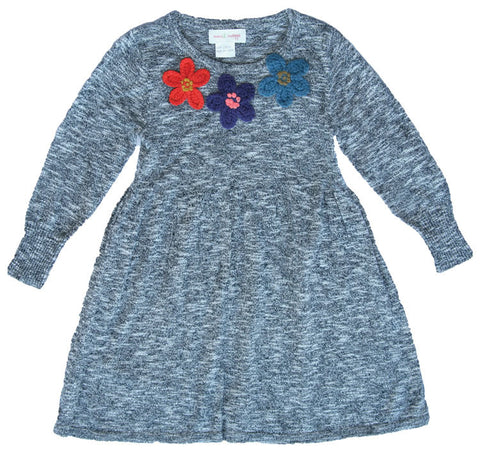 3 Flowers Sweater Dress-BLK