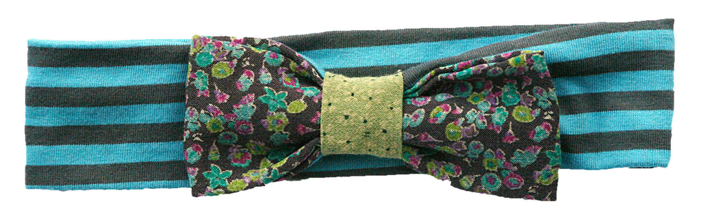 flower printed bow headband-blue