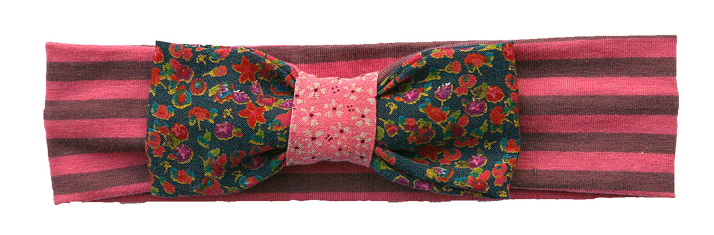 flower printed bow headband-pink