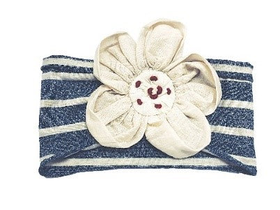 Stripe Flower Headband- Indigo