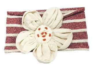 Stripe Flower Headband- Red