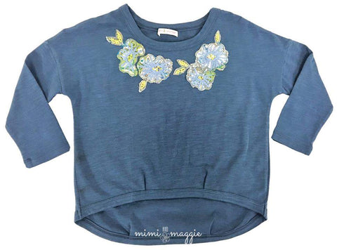 Bubble Flower Tee-Indigo