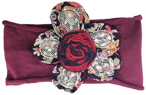 Earth Flowers Headband Burgundy-Accessories