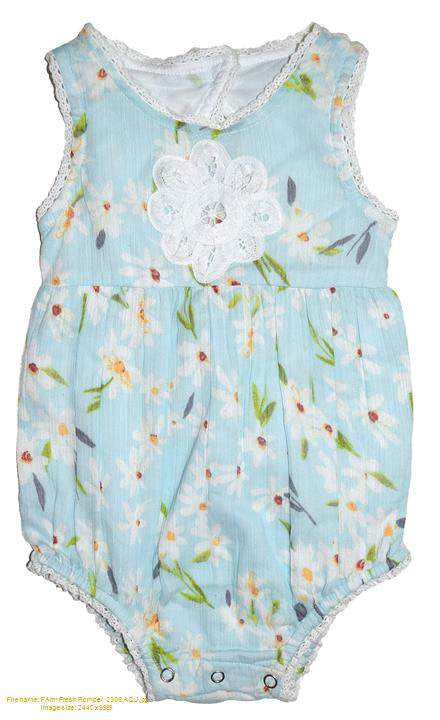 Farm Fresh Romper-Aqua