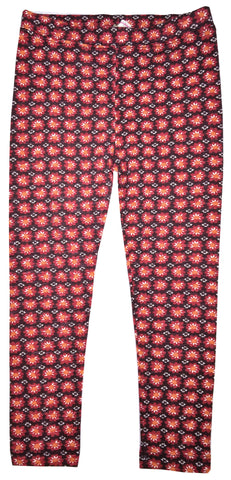 Flower Stamp Leggings Red-leggings