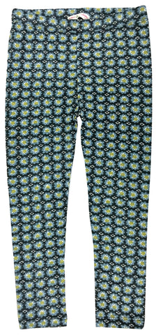 Flower Stamp Leggings Blue-leggings