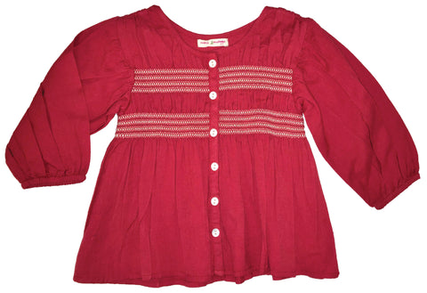 Fluttering Leaves Smocked Shirt Burgundy-shirts