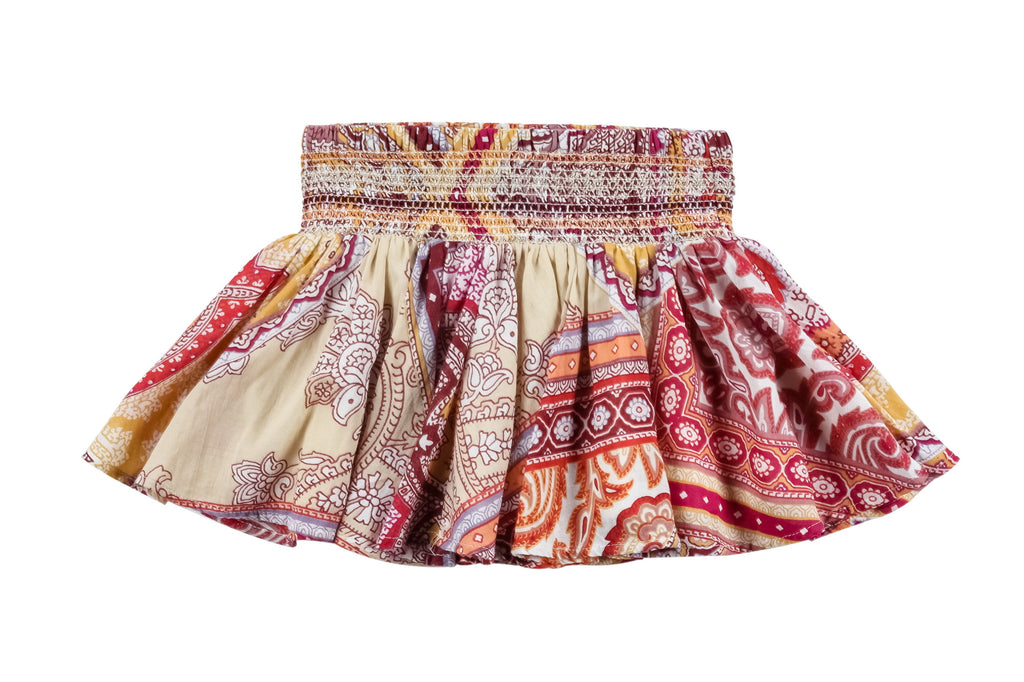 Mosaic Scarf Skirt-Red
