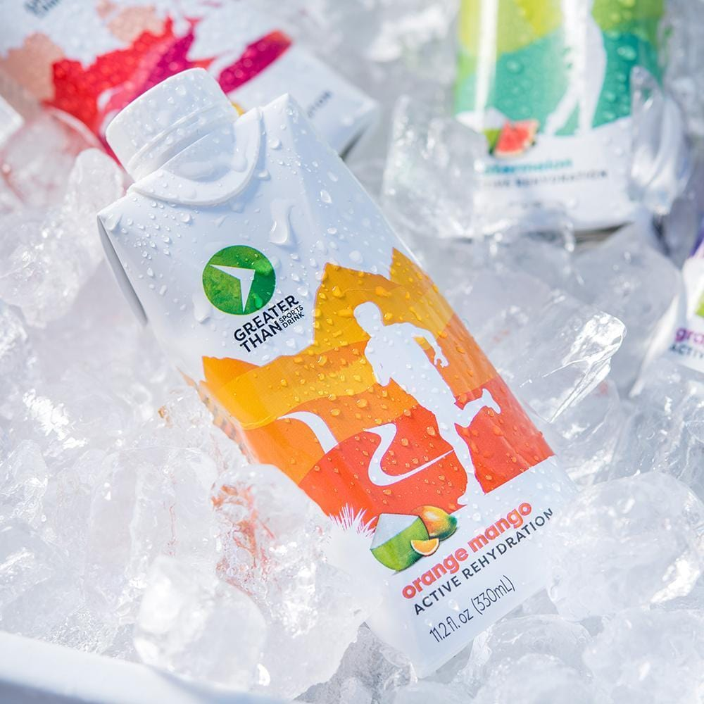 orange mango coconut water sports drink on ice
