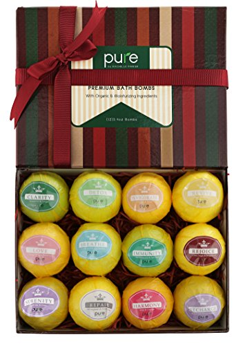 PURE Essential Oil Bath Aromatherapy! 12 Lush Bath Bombs. Super-Sized Natural Bath Fizzers with Natural Ingredients, Spa Gift Basket.