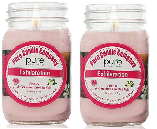 PURE Naturally Scented Aromatherapy Candles Gift Set, 2-Pack Jasmine Geranium Essential Oil Soy Candles Large Mason Jar, 12.5 oz. Natural Home Fragrance Candles, Best Gift for Women!