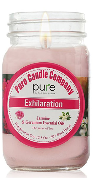 PURE Soy Wax Aromatherapy Scented Candle. Jasmine Geranium Essential Oil Soy Candle, Home Fragrance, Natural Scented Candle in Mason Jar, Vegan.