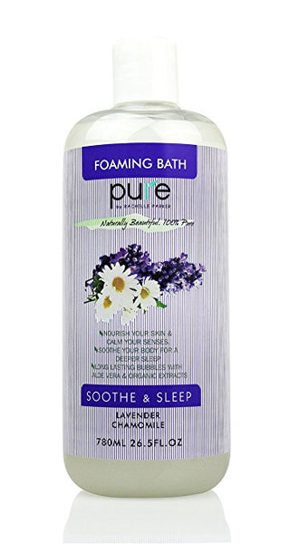 PURE Aromatherapy Lavender and Chamomile Bubble Bath, Organic Essential Oils Bath Foam - Nourishes & Soothes, 26.5 oz Lavender Bubble Bath