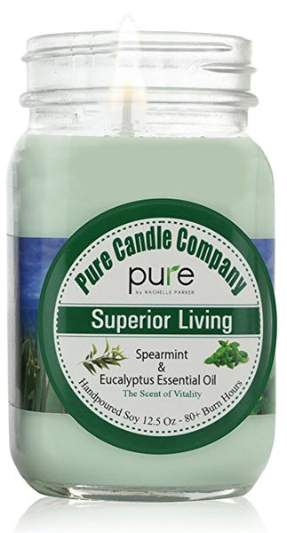 PURE Naturally Scented Aromatherapy Candle Gift, Spearmint Eucalyptus Essential Oil Soy Candle Large Mason Jar Candle, 12.5 oz. Natural Home Fragrance Candle, Best Gift for Women!