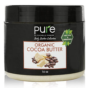 PURE Organic Cocoa Butter 16 oz, Raw Unrefined Grade A Cacao Body Butter.