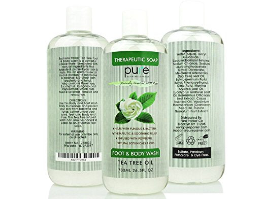 PURE Tea Tree Oil Foot & Body Wash - Natural Therapeutic Antifungal Soap, Foot Soak for Athlete's Foot, 26.5 oz. Sulfate Free Tea Tree Body Wash!