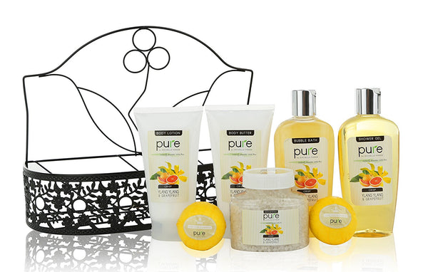 Spa Gift Basket By PURE! Beautiful Metal Basket Gifts for Women Infused with Grapefruit Essential Oil!Natural Spa Baskets for Women Spa Basket Gift Set