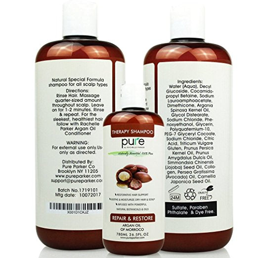 PURE Organic Moroccan Argan Oil Shampoo, 26.5 oz. – Extra Strength Formula with Keratin & Dead Sea Minerals. Restores Shine, Moisturizes Dry & Damaged Hair, Enhances All Hair Types