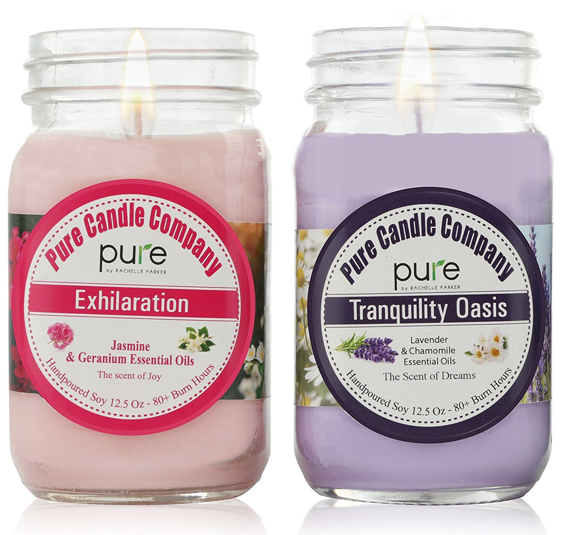 PURE Naturally Scented Aromatherapy Candles Gift Set, 2-Pack