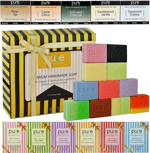 12 Handmade Soap Bars. Artisan Soap Bars Family Pack for Men Women & Kids