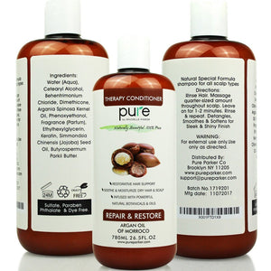 PURE Argan Oil Shampoo & Conditioner Set, HUGE 26.5 oz. Each – Enhances All Hair Types