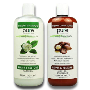 PURE Shampoo and Conditioner Set, HUGE 26.5 oz. Each Extra Strength Formula Moisturizes Dry & Damaged Hair (Argan Oil/Tea Tree Shampoo & Conditioner Set)