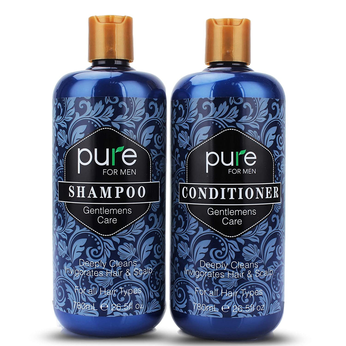 Mens Shampoo and Conditioner Set for Men Daily Hair Care. #1 Pure Shampoo Conditioner for Men for Deep Cleansing, Itchy Scalp Care, Strengthen and Invigorate Hair & Scalp. Paraben & Sulfate Free Shampoo for Men