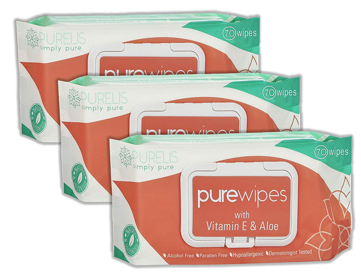 Natural Wet Wipes for Women & Kids -70 Sensitive Body Wipes