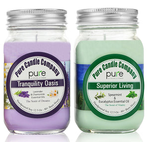PURE Naturally Scented Aromatherapy Candles Set, 2-Pack