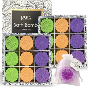 Shower Steamer Gift Set - 18 Aromatherapy Bath Bombs Infused with Essential Oils. Bath Bomb Party Favors for Women. Spa Bath Bombs for Women, Men & Kids! Natural Bath & Shower Steamers in Mesh Bags!