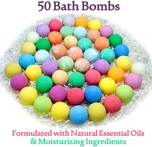 Natural Bath Bombs Gift Set for Women. 50 Essential Oil Bath Bombs with Organic & Moisturizing Pure Goodness. Sulfate Free Sensitive Skin Bath Bomb Set for Adults Teens & Kids