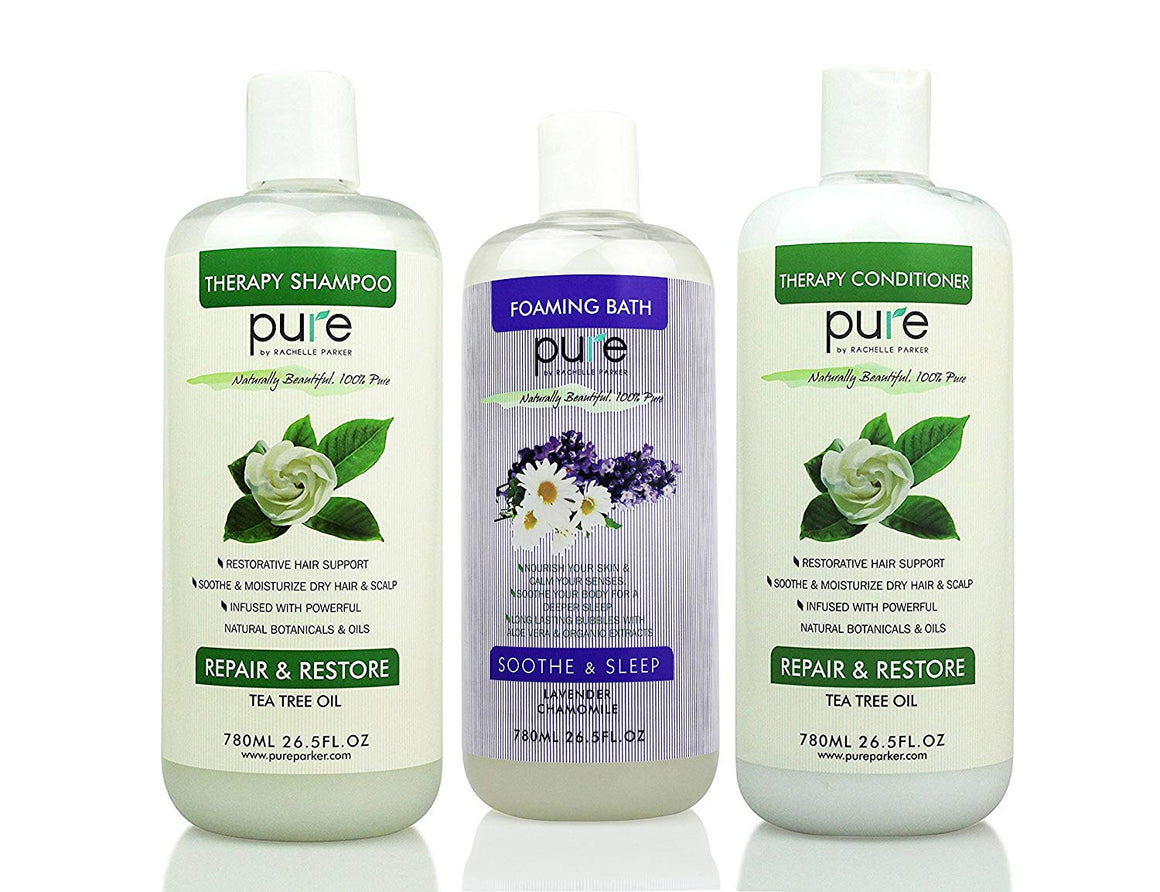 Salon Spa Kit Gift Set - Natural Bath Set Including Oversized Tea Tree Shampoo and Conditioner PLUS Lavender Bubble Bath