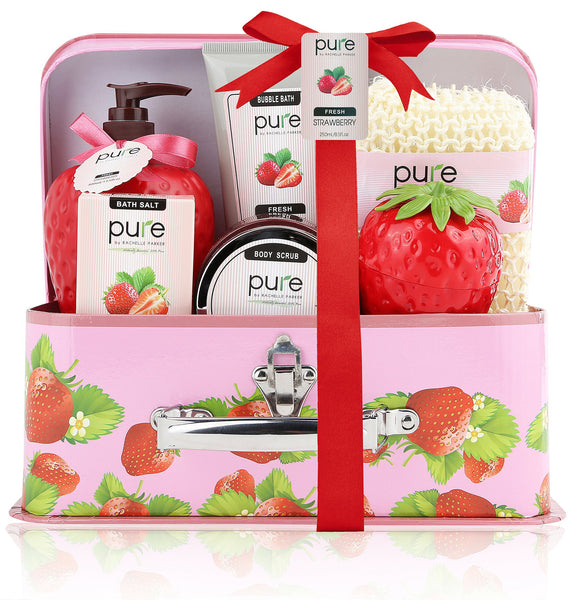 Spa in a Basket. Deluxe Gift Set for Women (Fresh Strawberry)
