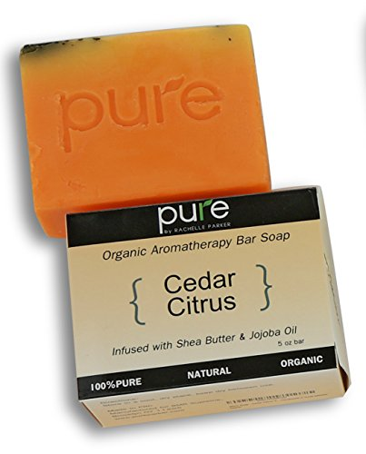 PURE Essential Oil Handmade Aromatherapy Bath Soap Bar. Cedar Citrus Artisan Face & Body Soap Gift for Men, Cold Process Organic Soap Bar, Natural Cedar Citrus with Jojoba Oil. Single Scented Bar.