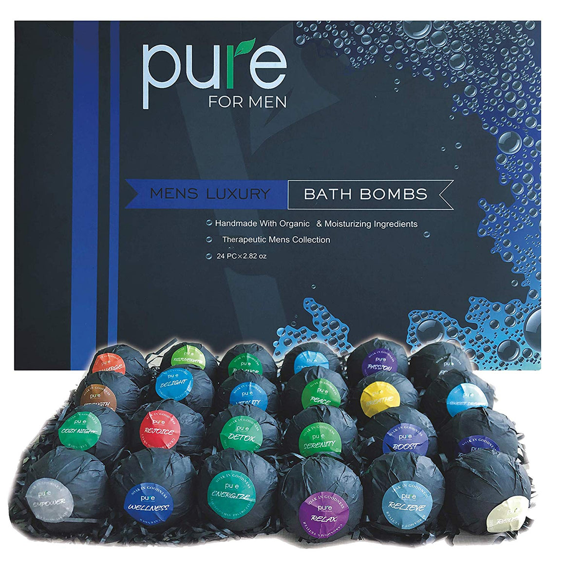 Men's Bath Bombs Gift Set. 24 Therapeutic Shea Bath Bombs for Men! Large Spa Fizzers with Moisturizing & Essential Oils. Aromatherapy Bath Bomb Set makes Best Gift Set for Men, Husband, Boyfriend etc