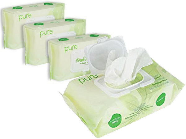 Resealable Wet Wipes - 4-Pack Intimate Wipes, 80 Wipes Per Pack. Natural Wipes, Hypoallergenic & Unscented Water Wipes for Baby Wipes, Men and Women. Fresh N' Clean Body Wipes